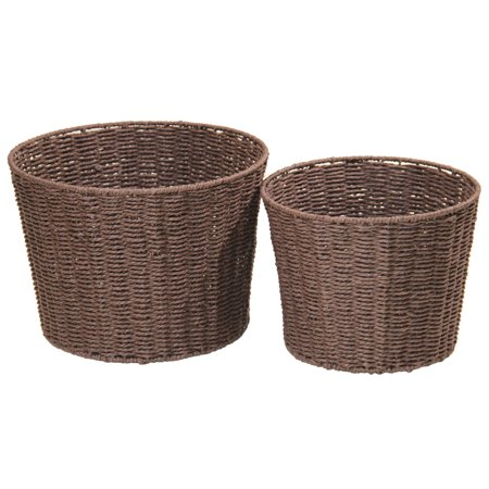 Mainstays Round Paper Rope Basket, Set of 2, Brown ()