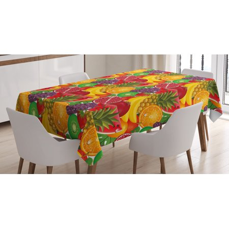 Colorful Tablecloth, Exotic Tropical Fresh Ripe Juicy Fruits Pineapple Berries Watermelon Grape Orange, Rectangular Table Cover for Dining Room Kitchen, 60 X 84 Inches, Multicolor, by Ambesonne](Tropical Tablecloth)