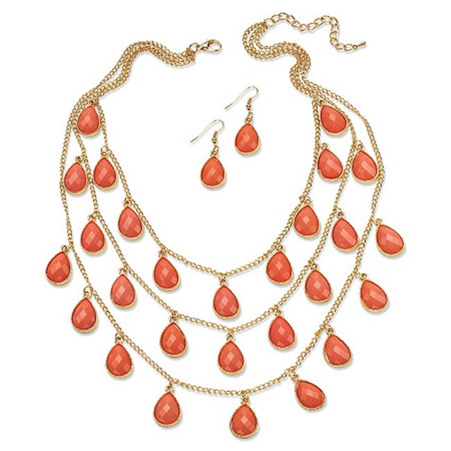 PalmBeach Jewelry 53947 2 Piece Coral Checkerboard-Cut Cabochon Jewelry Set in Yellow Gold Tone by PalmBeach Jewelry