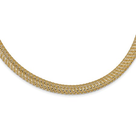 Tone Mesh Chain - Solid 14k Gold Two-tone Polished Mesh Stretch Necklace Chain 18