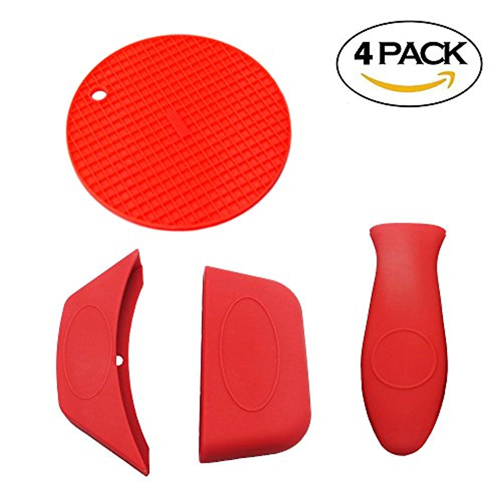 Nice 4pc Silicone Hot Handle Holder, Silicone Assist Handle Holder, Silicone Hot  Pad   Heat