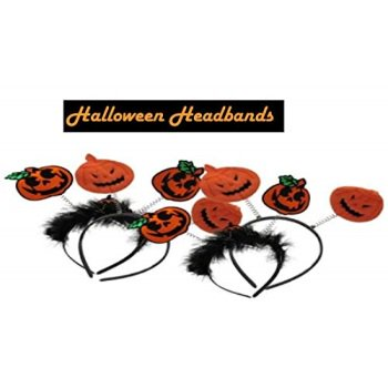 dazzling toys Halloween Pumpkin Design Headbands | 4 Pumpkin Headbands | Halloween Costume