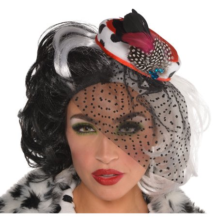 Cruella De Vil Fascinator, 101 Dalmatians Halloween Costume Accessory, One Size
