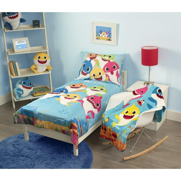 Baby Shark 4-Piece Toddler Bedding + Blanket Bundle Set ...