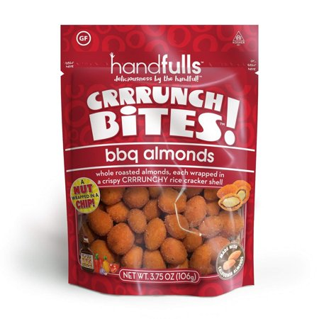 CrrrunchBites BBQ Almonds (3-Pack) by Handfulls. Whole Roasted Almonds Wrapped in a Potato Chip for a Satisfying Crunch. Gluten-free, Non-GMO, Vegan (3.75 oz Bags) 3-Pack
