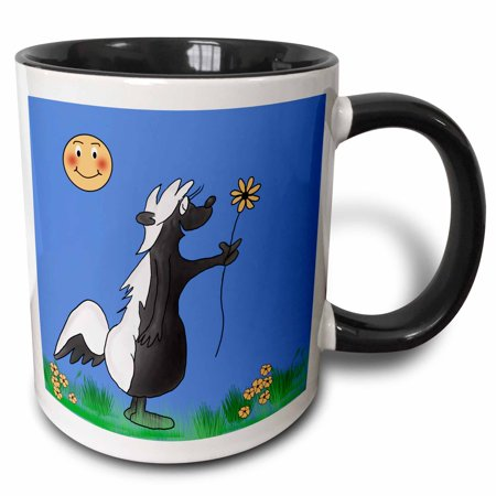 Smiling Sun (3dRose Cute cartoon skunk picking flowers for his date with a sun smiling approval. - Two Tone Black Mug,)