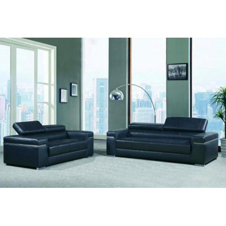 Maxwest P900 Modern Black Leather Sofa Set with Adjustable Headrest 2 Pcs
