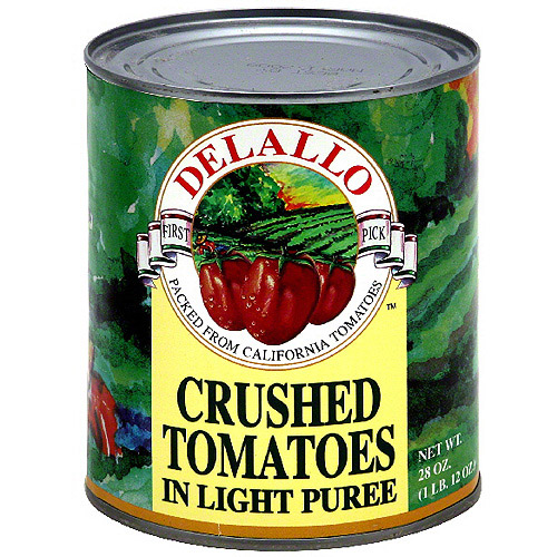 Delallo Crushed Sun Ripened California Tomatoes In Light Puree, 28 oz (Pack of 12)