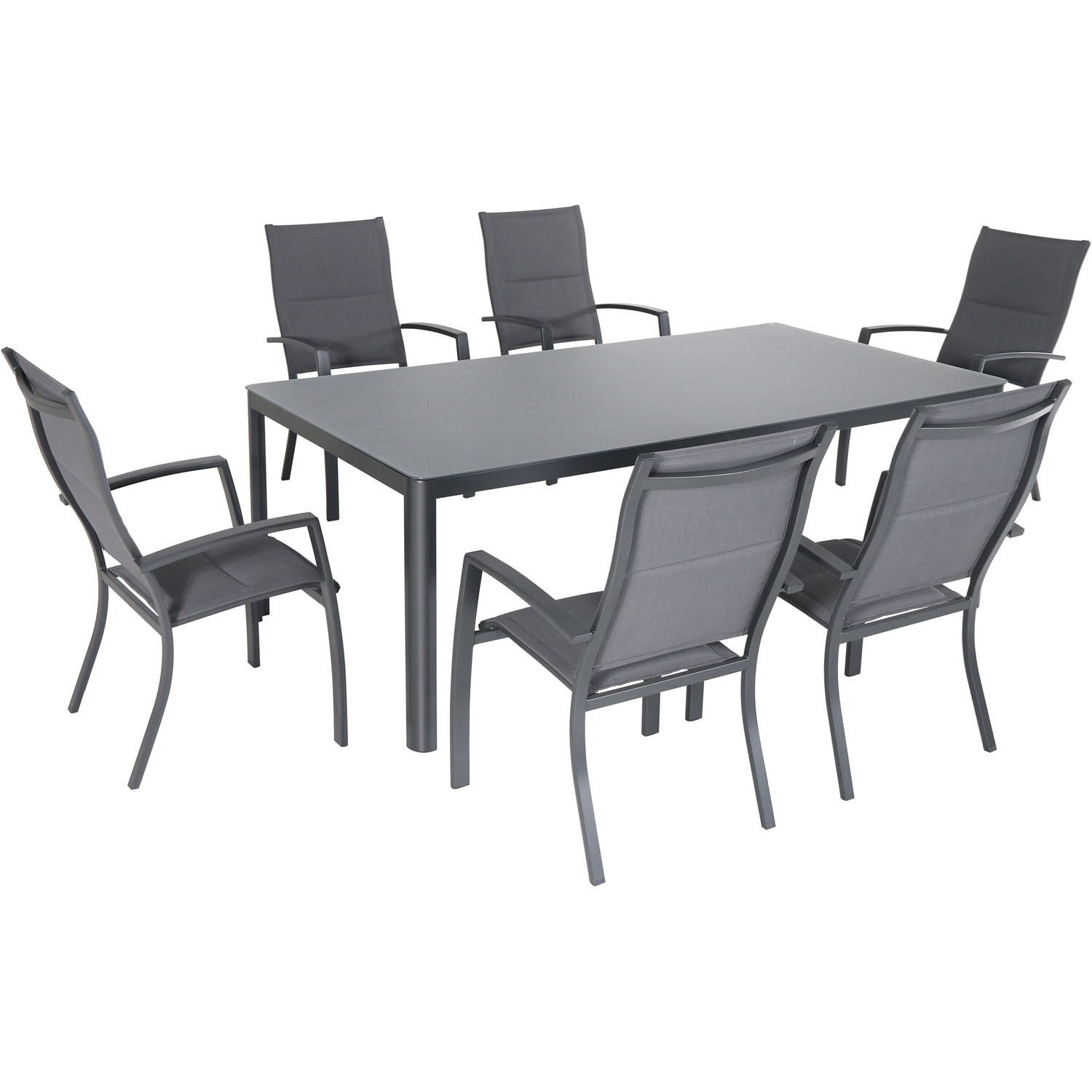 """Hanover Fresno 7-Piece Outdoor Dining Set with 6 Padded Sling Chairs and a 42"""" x 83"""" Glass-Top Table"""