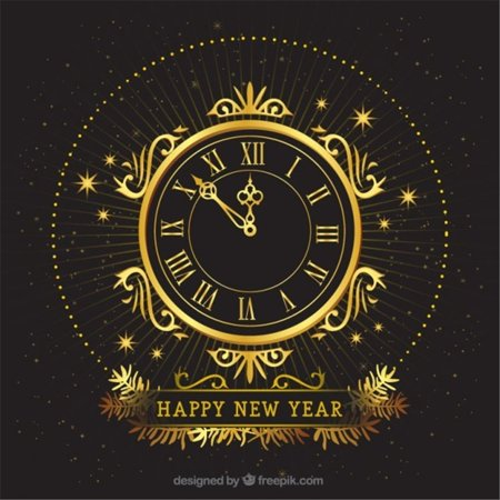 HelloDecor Polyester Fabric Black Photography Background Gold Rount Clock Photo Backdrop New Years Eve 5x7ft Christmas Holiday Backdrops
