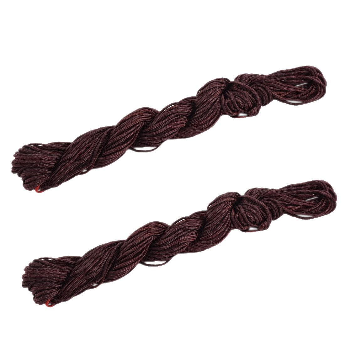 Nylon DIY Handmade Craft Chinese Knot Beading Line String Burgundy 22 Yards 2pcs