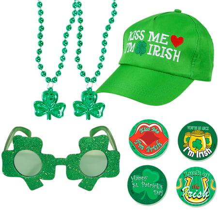 St Patrick Kiss Me I'm Irish Shamrock Adult 8pc Party Accessory Kit,