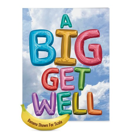 J5651HGWG Jumbo  Get Well Card: 'Inflated Messages' with Envelope (Jumbo Size: 8.5+ x 11+)