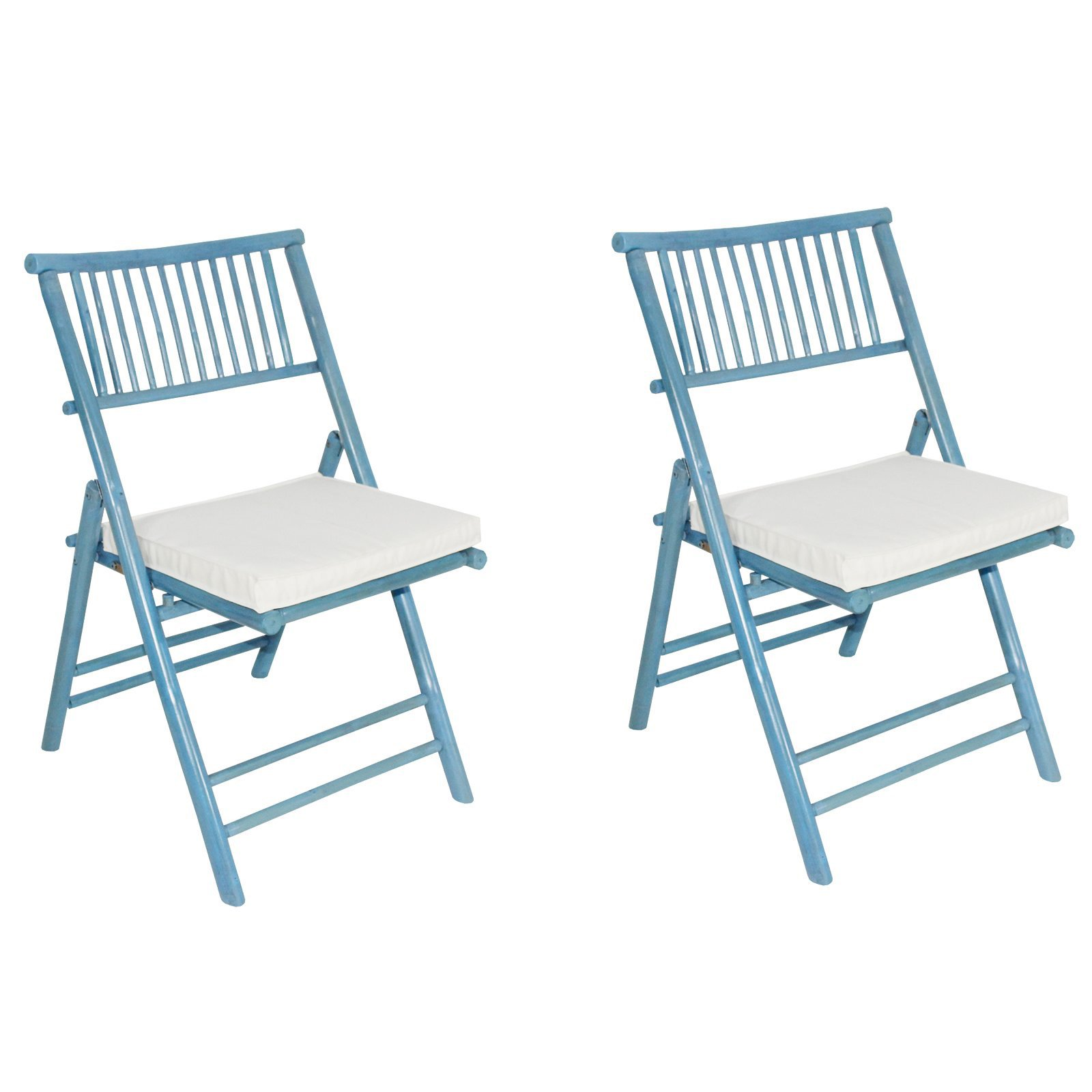 Phat Tommy Foldable Bamboo Chair With Cushions - Set of 2
