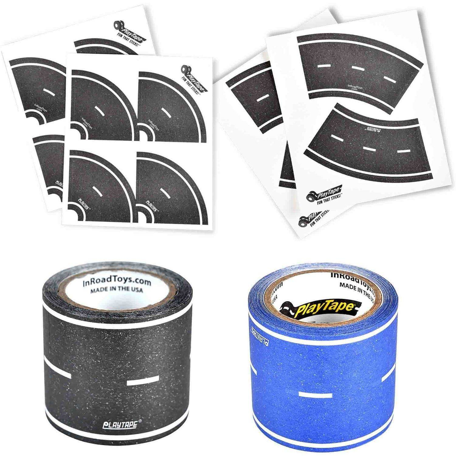 "PlayTape Classic Road Series 30' x 2"" Road Bundle with 8 Tight Curves and 4 Broad Curves, Black and Blue"