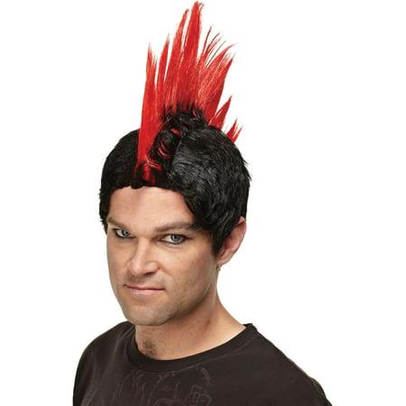 Emo Mens Gothic Wig Punk Rocker Scenester Theatre Costumes Accessory Mohawk Wig (Eko Halloween)