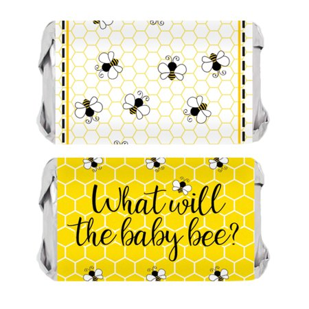 What Will It Bee Candy Wrappers 54 count - Baby Gender Reveal Party Supplies Bumble Bee Baby Shower Decorations - 54 Count Stickers (Bee Decorations For Classroom)
