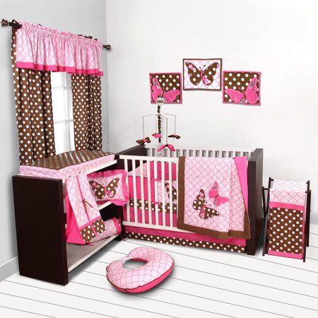 Butterflies Pink/Chocolate Crib Bedding Collection