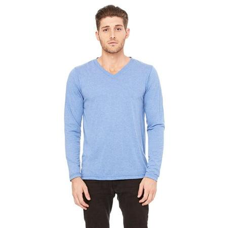 Sky Blue Jersey (Branded Bella + Canvas Unisex Jersey Long Sleeve V-Neck T-Shirt - BLUE TRIBLEND - M (Instant Saving 5% & more))