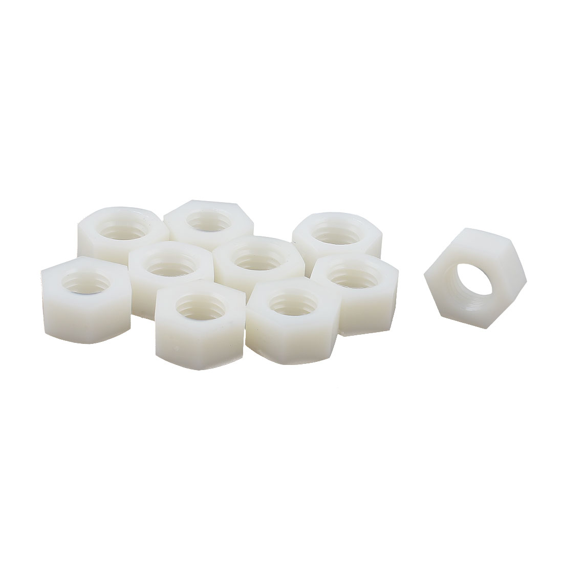10 Pcs Nylon M12 Threaded Hexagon Screws Hex Nuts Off-white - image 1 of 1