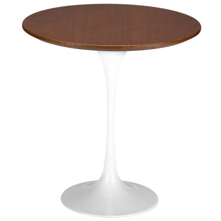 Poly and Bark Daisy 20? Walnut Top Side Table in White