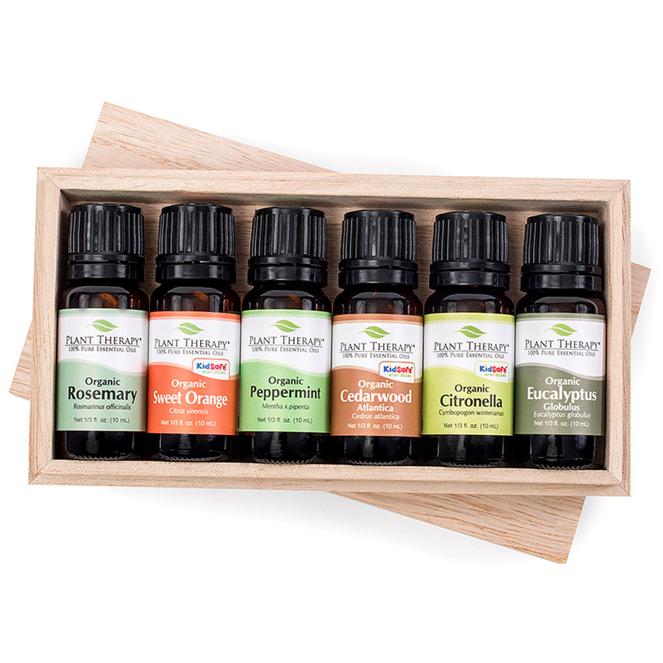 Organic Essential Oil Sampler Gift Set. 6 Organic 10 ml ea. Includes: 100% Pure, Undiluted, Therapeutic  Essential Oils of Eucalyptus, Peppermint, Rosemary, Cedarwood, Sweet Orange and Citronella.