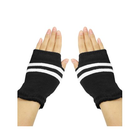 Unique Bargains Women Black White Striped Stretchy Acrylic Knitted Thumb Hole Detail Gloves 100% Acrylic Knit Glove