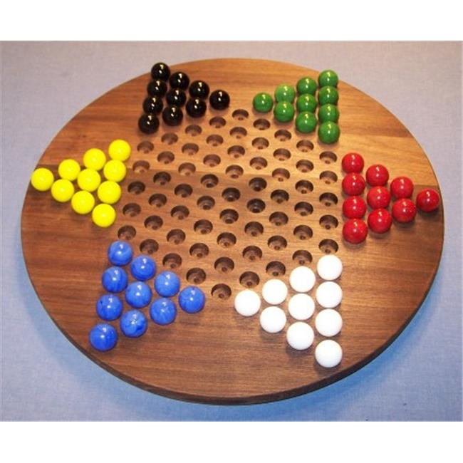 THE PUZZLE-MAN TOYS W-1926 Wooden Marble Game Board - Chinese Checkers  Oiled 18 in. Circle - Black Walnut