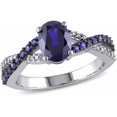(Tangelo 2-1/3 Carat T.G.W. Created Blue Sapphire and Diamond Accent 10kt White Gold Infinity Cross-Over Engagement Ring)