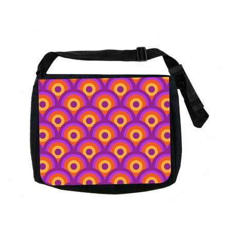 Retro Pattern Black Laptop Shoulder Messenger Bag and Small Wire Accessories Case Set