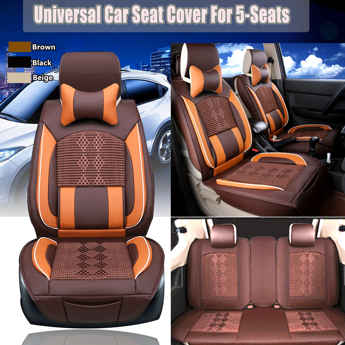 5-Seat Car Seat Car Seat Cover PU Leather+Mesh Seat Cover Front +Rear Cushion+ Pillows
