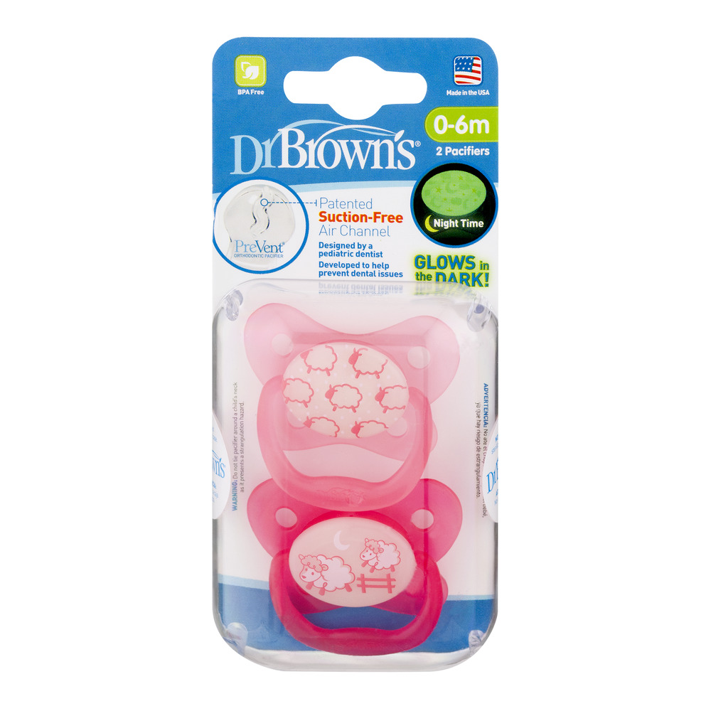 Dr. Brown's Glows in the Dark Pacifiers - 0-6M - 2 PK, 2.0 PACK