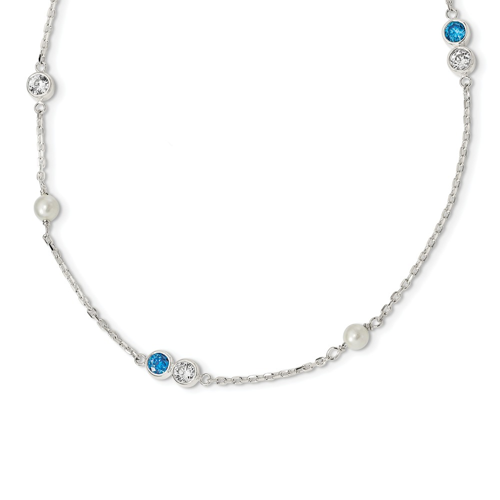 Sterling Silver 18in Freshwater Cultured Pearl & Blue Topaz Necklace