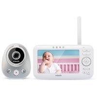 """VTech VM352 5"""" Digital Video Baby Monitor with Wide-Angle Lens and Standard Lens, Silver & White"""