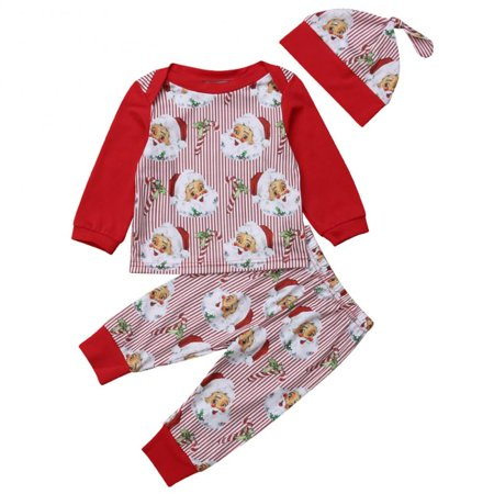 Baby Boys Girls Christmas Santa Claus Striped Long Sleeve Top and Pants Hat Outfit Set 12-18M
