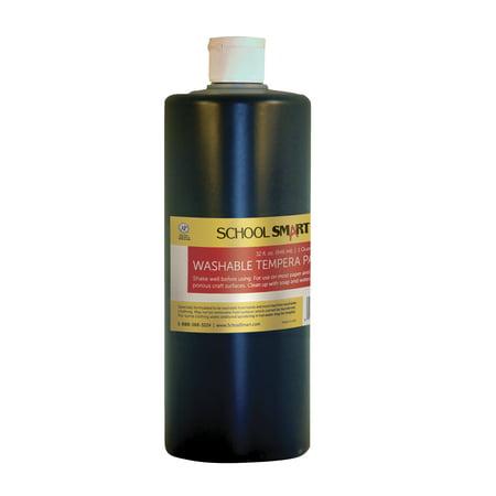 School Smart Non-Toxic Washable Tempera Paint, 1 qt Plastic Bottle, Black ()
