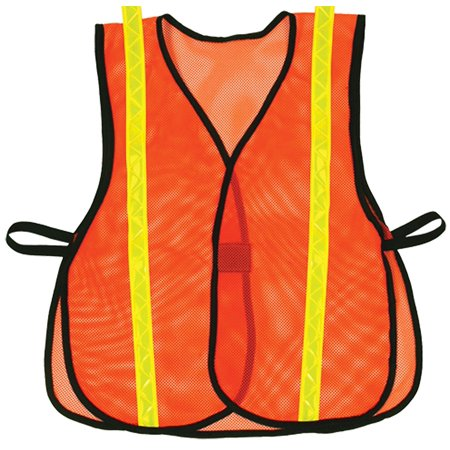 687 Hook and Loop Style Orange Safety Vest with Lime Reflective, S ...