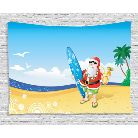 Surfboard Decoration (Christmas Decorations Tapestry, Santa on Beach with Surfboard Summer Party Celebration Tropical Art, Wall Hanging for Bedroom Living Room Dorm Decor, 60W X 40L Inches, Blue Yellow, by)
