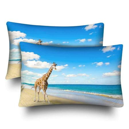 GCKG Giraffe Runs Sand at Seacoast Pillow Cases Pillowcase 20x30 inches Set of 2 - image 4 de 4