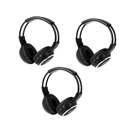 Wireless IR DVD Player Head Phones 3 Pack of Two Channel Folding Infrared Headphones for in Car Video Audio Listening Headsets Universal Rear Entertainment System Infrared Good TV Headphones Wireless