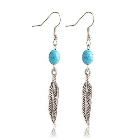 1Pair Turquoise Circular Leaves Dangle Earings Eardrop -