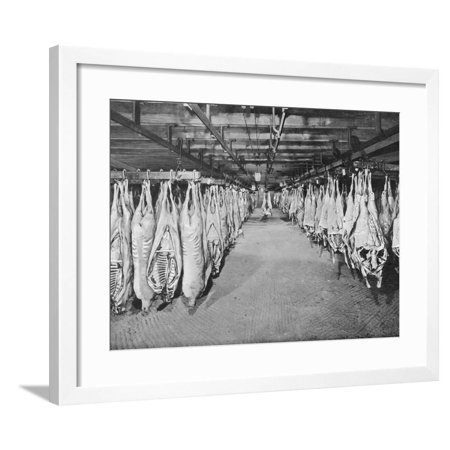 Carcases of Meat Hang from Hooks in the Huge Refrigerated Rooms of the Chicago Stockyards Framed Print Wall Art 2 Door Refrigerated Mega Top