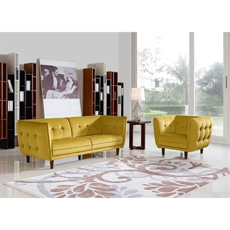 2-Pc Venice Button Tufted Fabric Sofa and Chair