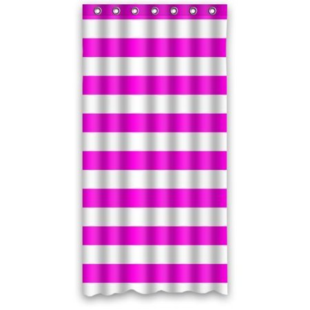 HelloDecor Rose Red Stripe Shower Curtain Polyester Fabric Bathroom Decorative Size 36x72 Inches