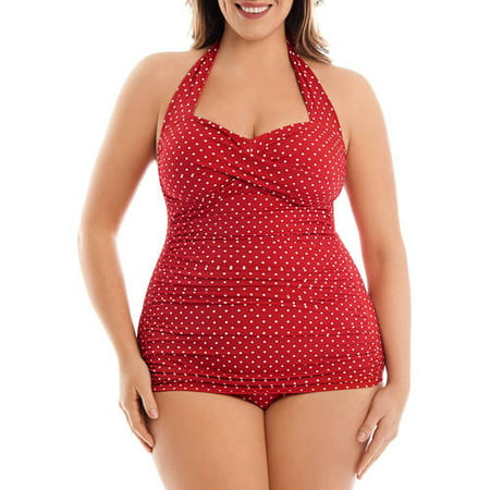 d68f0a93b0d02 Simply Slim - Simply Slim Women's Plus-Size Slimming Shirred Glam Sheath  One-Piece Swimsuit - Walmart.com