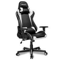 Gaming Chair for Video Games, Ergonomic Computer Chair with Arms, PU Leather Executive Swivel Desk Office Chair, Height Adjustable Recliner Professional Racing Chair with Headrest and Lumbar Support