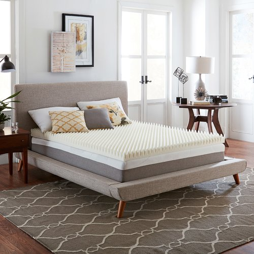 Alwyn Home Textured 4'' Memory Foam Mattress Topper