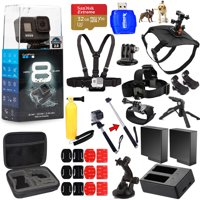 GoPro HERO8 HERO 8 Black All In 1 MEGA ACCESSORY BUNDLE for ALL Occasions with 2 Extra Battery and Charger, Sandisk 32GB, Head and Chest Strap, Dog Harness, Tripods, Selfie Stick and Much More