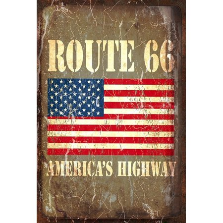 Americana Route 66 Metal Sign with Distressed American Flag America's Highway Wall Decoration / Bar Sign 16 x 12, Measures 16 Inches Long x 12 Inches Wide By On The Road Wholesale - Metal Signs Wholesale