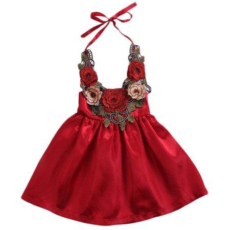 Infant Baby Girls Embroidered Rose Flower Applique Halter Strap Backless Princess Party (Infant Baby Girls Halter Dress)